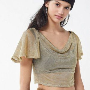 Urban Outfitters   NWT Metallic Cowl Neck Crop Top